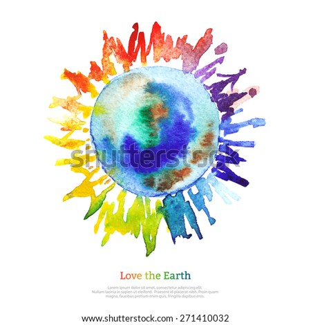 Vector watercolor bright Earth on white backdrop. Hand drawing planet illustration. Earth day. - stock vector