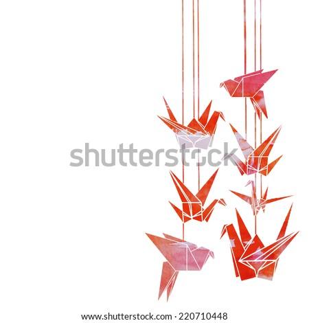 Vector Watercolor Bright Origami Crane