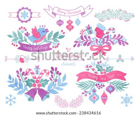 Vector Watercolor christmas design elements. - stock vector