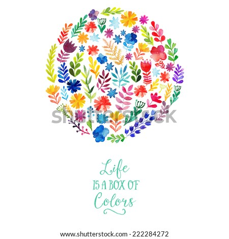 Vector watercolor circle design made of flowers. Botanical decoration, lettering. Floral card with copy space - stock vector