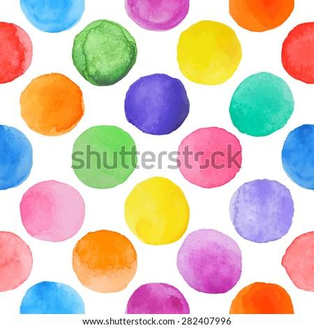 Vector watercolor circles seamless pattern . Hand drawn circles ornament. Round shapes pattern. Round shapes. Painted ornament. Grunge colorful rounds shapes. - stock vector