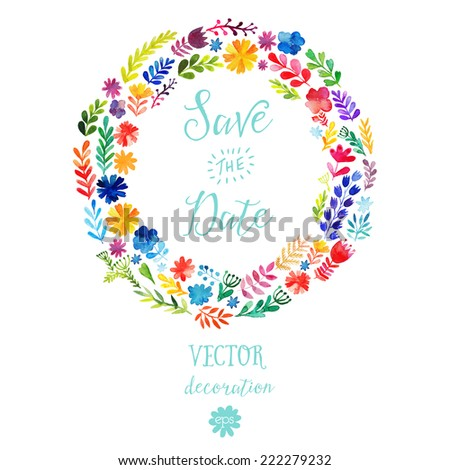 Vector watercolor colorful circular floral wreaths with summer flowers and central white copy space for your text. Vector handdrawn wedding  wreath with flowers. Save the date - stock vector