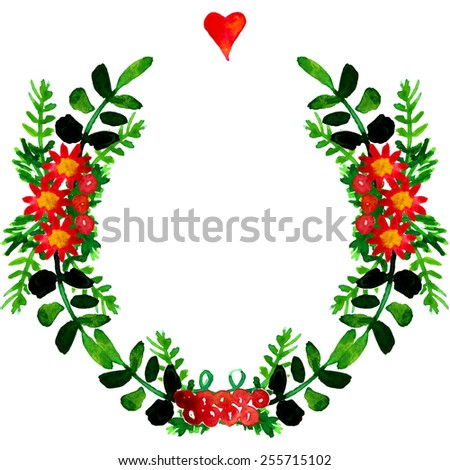 Vector watercolor colorful floral wreaths with summer flowers and central white copyspace for your text. Save the date. Wedding invitation template. Watercolor illustration. - stock vector