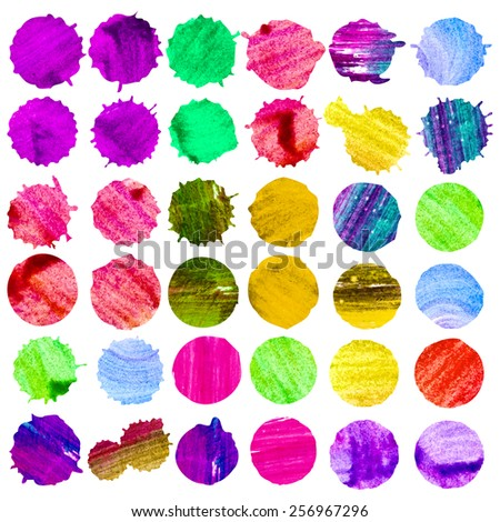 Vector watercolor colorful painted stains. 36 drops set.
