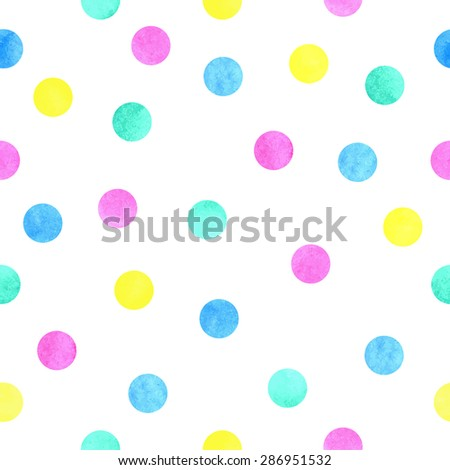 Vector watercolor dots pattern on white background, seamless. Pink, yellow, green and blue circles. - stock vector