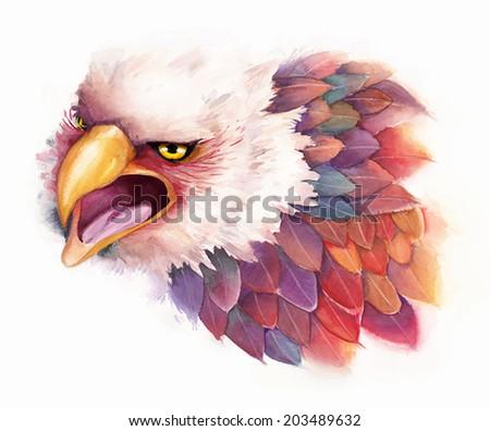Vector watercolor eagle in fantasy style  - stock vector