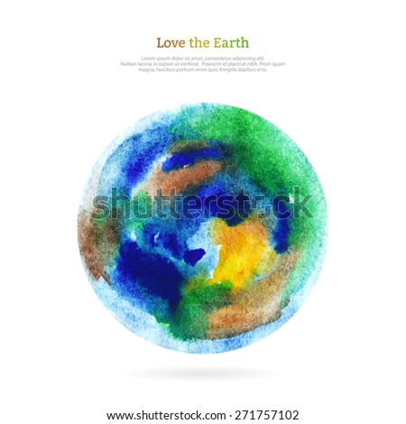 Vector watercolor earth isolated on white backdrop. Hand drawing planet illustration. Earth day. - stock vector