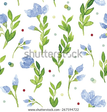 Vector watercolor floral pattern with blue flowers, green leaves and colorful dots. Great for wedding and invitations. Lovely, elegant botanical drawing. Vectorized watercolor painting - stock vector