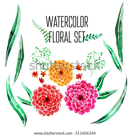 Vector Watercolor Floral Set  With Hand Painted Leaves. Watercolor Leaf Branch backdrop. Text Frame. - stock vector