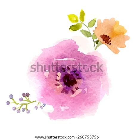 Vector watercolor flower design bohemian style - stock vector