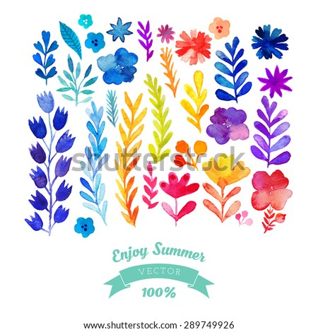 Vector watercolor flowers collection. Awesome flowers made in watercolor technique. Bright romantic card with summer flowers in vector. Hand drawn design elements - stock vector