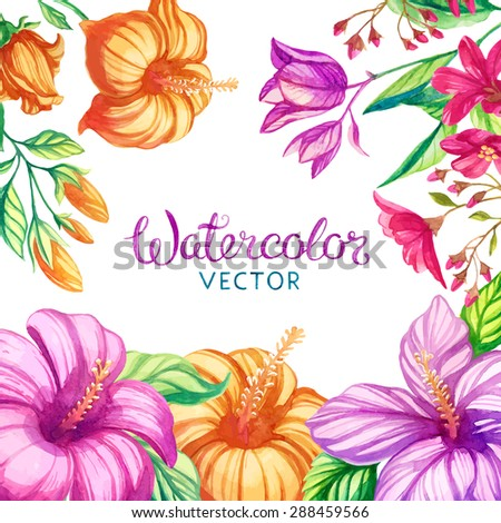 vector watercolor flowers frame - stock vector