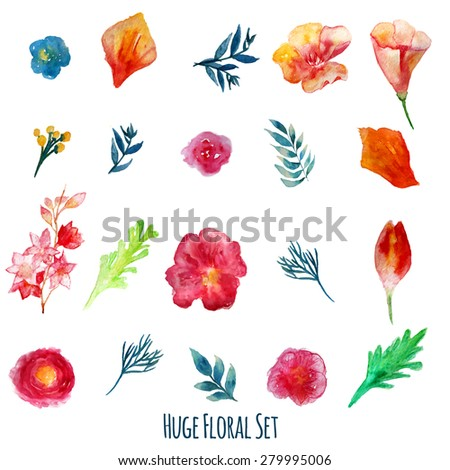 Vector  watercolor flowers with green leaves. Modern elements for your design. Can be used in posters, invitations, banners.EPS10 - stock vector