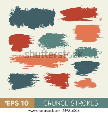 Vector watercolor  grunge ink spot. Wet brush stroke on paper texture. Dry brush strokes. Abstract composition for design elements - stock vector