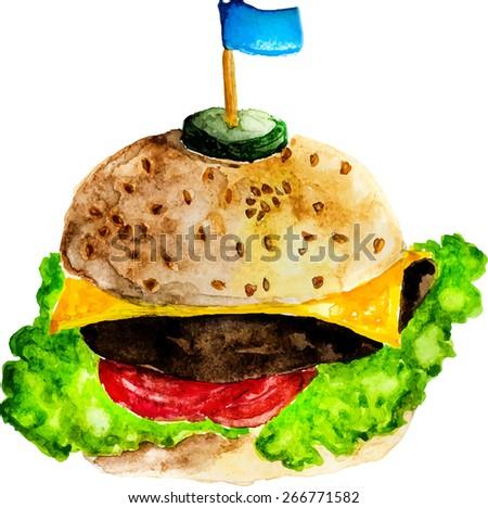 vector watercolor hamburger - stock vector