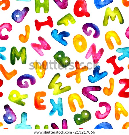 Vector watercolor hand-draw colorful alphabet seamless pattern. Eps10