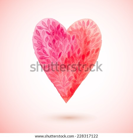 vector watercolor heart, Valentine's day heart sign made of flower leaf. watercolor painted red heart, vector element for your design - stock vector