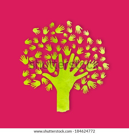 Vector Watercolor Human hands tree. Concept of community, group, friendship, solidarity, network, family. - stock vector