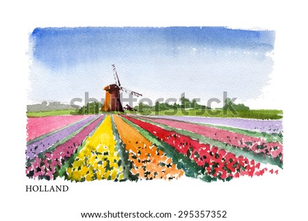 Vector watercolor illustration of Holland sightseeings with text place. Good for warm memory postcard design, any graphic design or book illustration. - stock vector