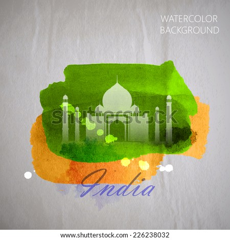 vector watercolor illustration of  indian Taj Mahal on the old wrinkled paper background with colors of indian flag - stock vector