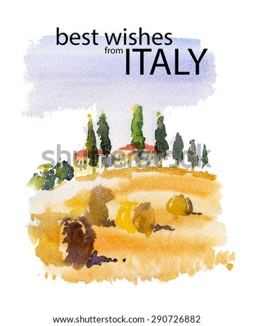 Vector watercolor illustration of Italy village shield country side sunny summer nature with text place. Good for warm memory postcard design, any graphic design or book illustration. - stock vector