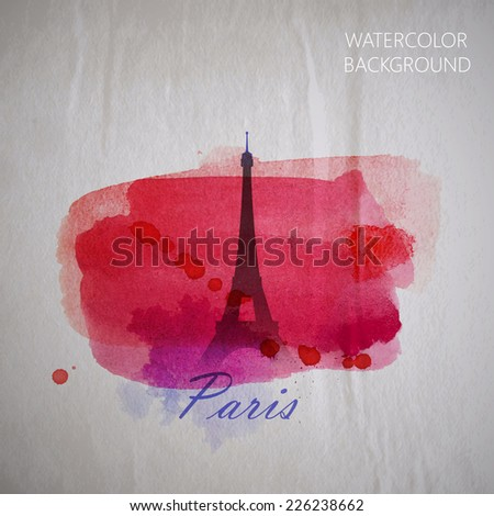vector watercolor illustration of Paris Eiffel tower on the old wrinkled paper background - stock vector