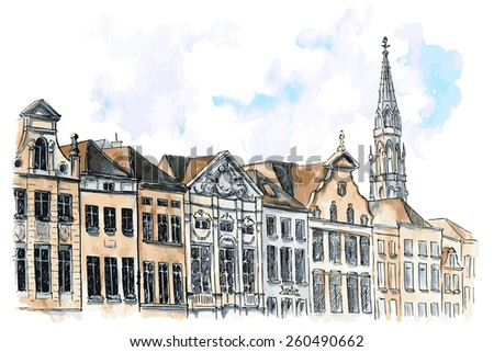 Vector watercolor illustration of typical city view of Brussels. Touristic view on Grand Place. - stock vector
