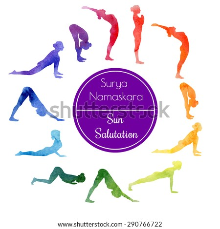 Vector watercolor illustration of yoga exercise Sun Salutation Surya Namaskara. Bright colorful silhouettes of slim women in different yoga positions in rainbow dyes. - stock vector