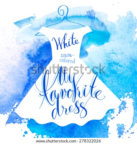 Vector watercolor image. Women dress white - stock vector
