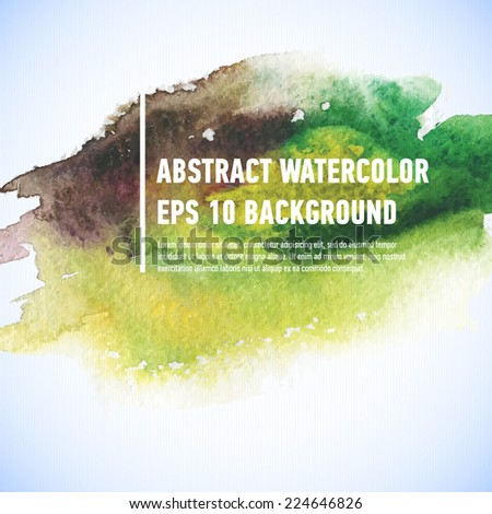 Vector watercolor ink spot. Wet brush stroke on paper texture. Dry brush strokes. Abstract composition for design elements - stock vector