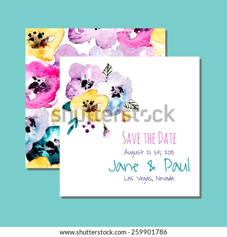 Vector watercolor invitation card with flowers and plants. Floral design. Original floral background, greeting card. Wedding invitation, save the date illustration.  - stock vector