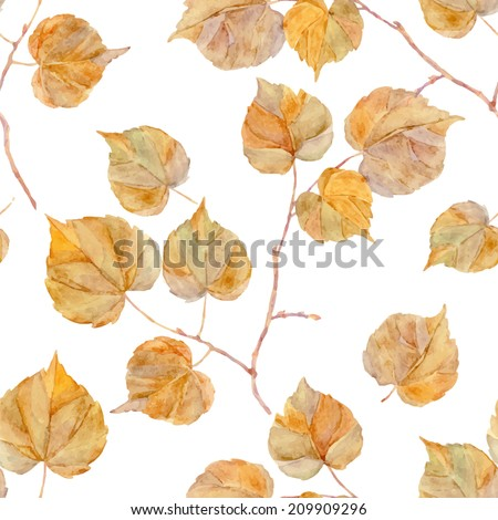 Vector watercolor leaf. Vintage template. Herbarium. Isolated on white. Autumn seamless pattern with leaf. Autumn theme. - stock vector