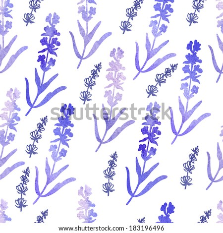 Vector Watercolor pattern with lavender flowers.   Seamless pattern for fabric, paper and other printing and web projects. - stock vector