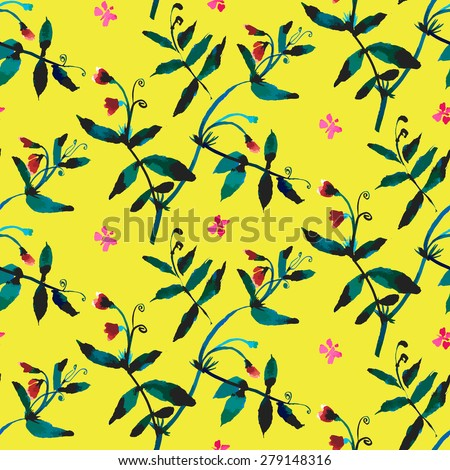 Vector watercolor pattern with various flowers and leaves. Spring summer seamless texture with sweet pea vines hand drawn in bright colors on yellow. Vintage ornament and natural background - stock vector