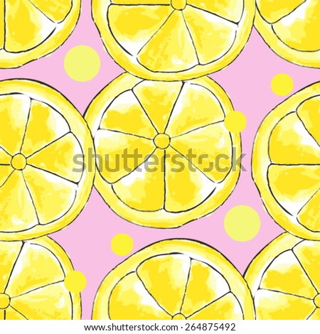 vector watercolor seamless pattern with lemon
