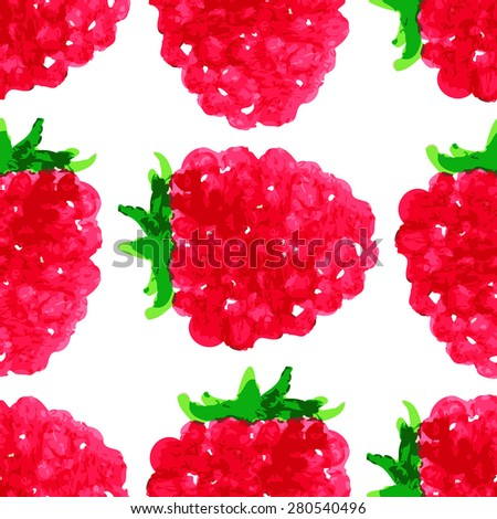 vector watercolor seamless pattern with raspberry