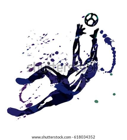 vector watercolor silhouette soccer goalkeeper stock. Black Bedroom Furniture Sets. Home Design Ideas
