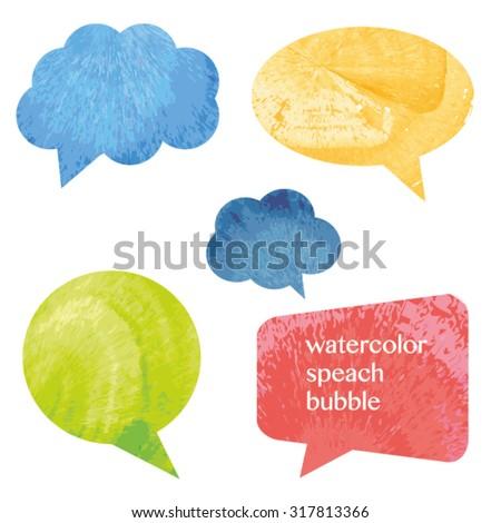 vector watercolor speach bubbles - stock vector