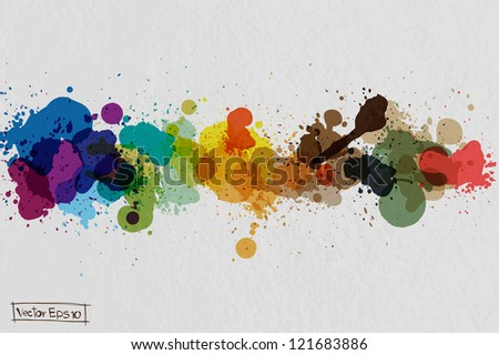 Vector watercolor splatter on paper texture background - stock vector