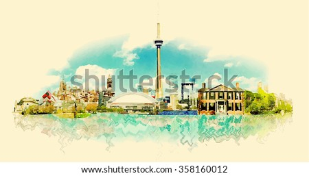 vector watercolor TORONTO city illustration - stock vector