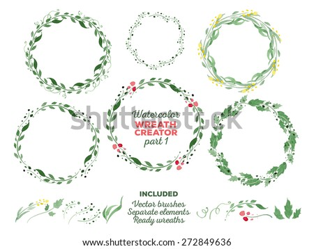 Vector watercolor wreaths and separate floral elements for custom wreaths creation. Ready-to-use illustrator brushes included. Great for wedding invitations, Mothers day cards, page decoration. - stock vector