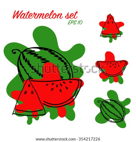 Vector watermelon set, whole, slice and triangle
