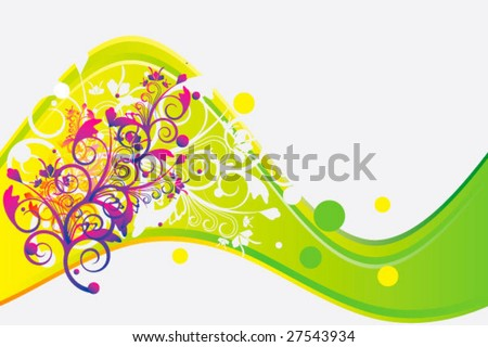 Vector wave with flower ornament