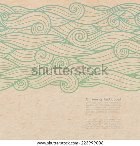 Vector waves ornate background with copy space on old parchment or cardboard paper - stock vector