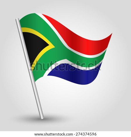 vector waving simple triangle African flag on pole - national symbol of South Africa with inclined metal stick - stock vector