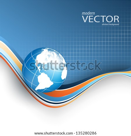 vector wavy background with copy space and globe. eps10