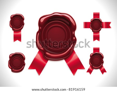 Vector wax seal with ribbons - stock vector