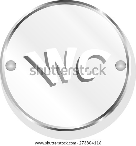 vector wc icon, web button isolated on white - stock vector