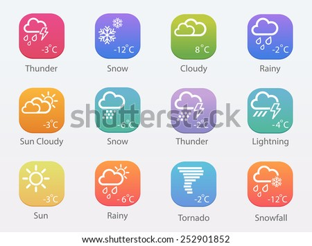 Vector Weather colorful icons - stock vector