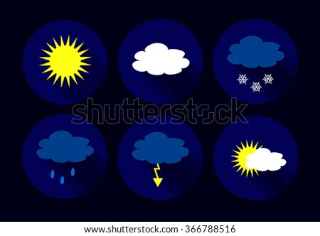 Vector weather flat icons - sun, clouds, snow flakes, flash, storm, rain. - stock vector